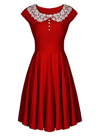 829d6ea51487 MISSMAY Women s Vintage 1940s Celeb Lace Collar Retro Swing Party Skaters  Ball Gown Dress XXL Red