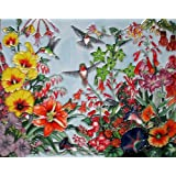 Continental Art Center HD-026 11 by 14-Inch Horizontal Hummingbird with Flowers Ceramic Art Tile