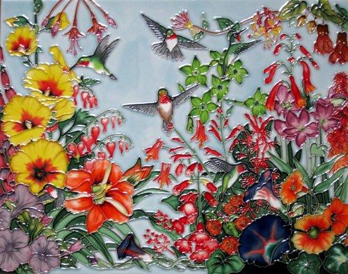 Continental Art Center HD-026 11 by 14-Inch Horizontal Hummingbird with Flowers Ceramic Art (Hummingbird Tile)