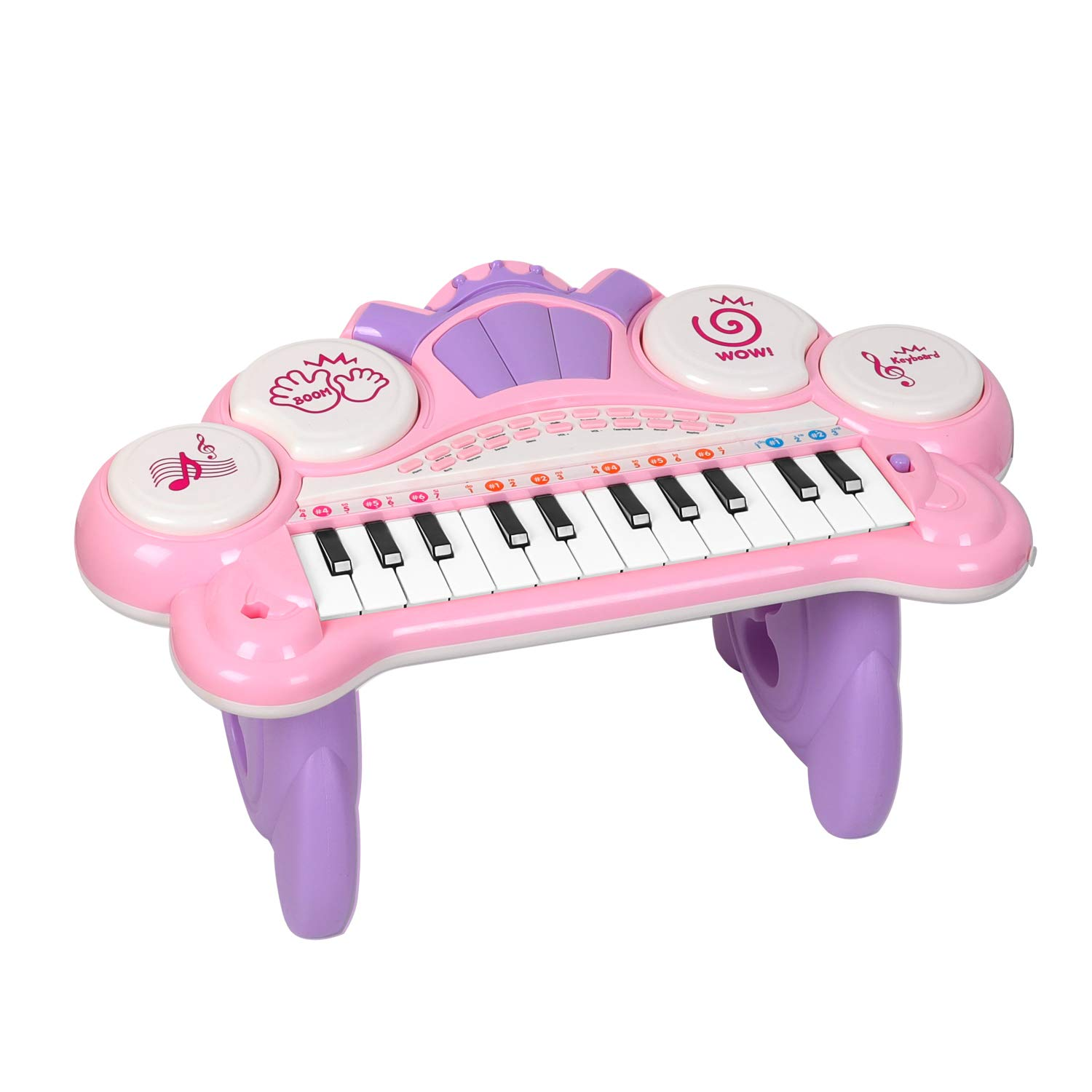 M SANMERSEN Mini Piano Keyboard, 24 Keys LED Light Piano for Kids with Teaching Mode Musical Instrument Toy for 1-4 Years Old Girls, Best Birthday Gift for Kids by M SANMERSEN