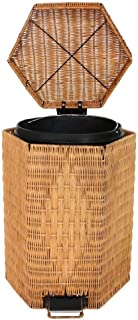 Waste Bins FJH Bamboo Rattan Trash Can Pedal Fashion Ideas Bathroom Trash Can Large Covered (Size : 8L)