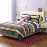 mixinni® Boho Multicolor Stripe Pattern Print Bedding Set Luxury Reversible 100 Cotton Bedspread/Quilt Set With Shams Queen Size