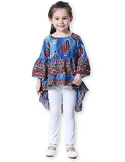 31fc55e15 21KIDS Girls Loose Trumpet Sleeves Cotton Asymmetrical Flounces Boho  Christmas Blouse Dress 3T-11