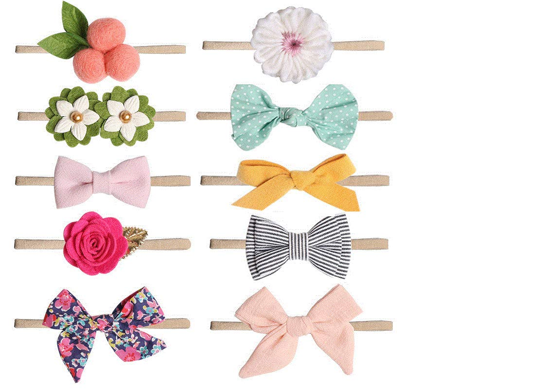 toddler infants baby hair bands and hair accessories for Newborn 10 pcs Baby girl headbands and bows baby headbands kids