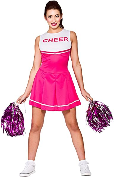 Disfraz de animadora de instituto para mujer, color rosa y blanco ...