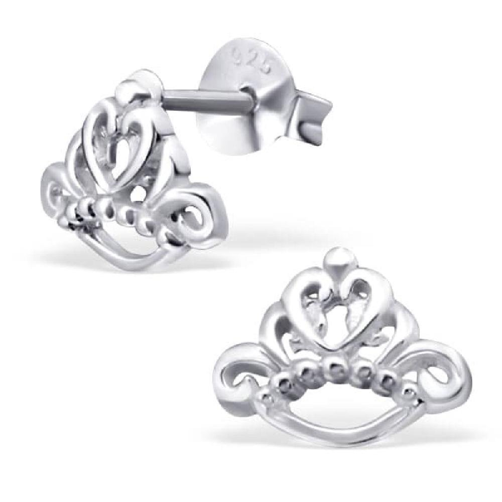 So Chic Jewels 925 Sterling Silver Tiara Ear Studs
