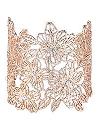 Ever Faith Crystal Filigree Hibiscus Victorian Style Wedding Cuff Bracelet