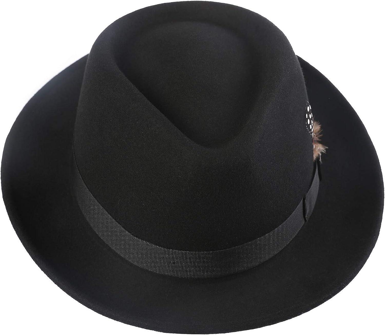 MENS FELT TRILBY HAT 5CM BRIM BLACK 100/% wool  58CM M
