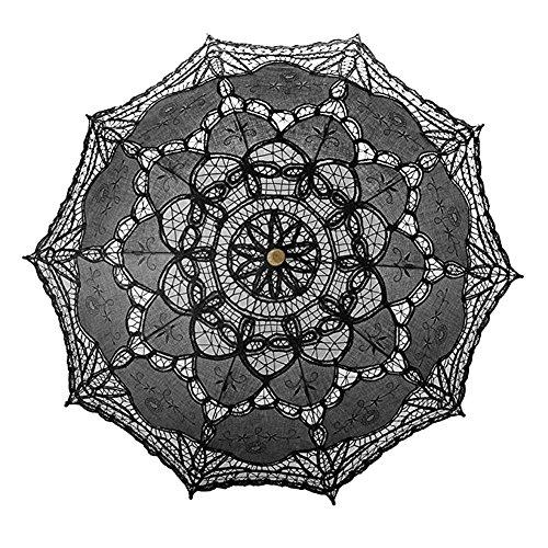 Price comparison product image European Style Cutout Wedding Parasol Bridal Shower Decoration Umbrella,  Handmade Black Lace Parasol Umbrella Custom-Made Gift Umbrella