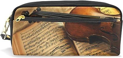 Estuche para lápices de violín vintage para niños, gran capacidad, para maquillaje, cosméticos, oficina, viajes, bolsa: Amazon.es: Oficina y papelería