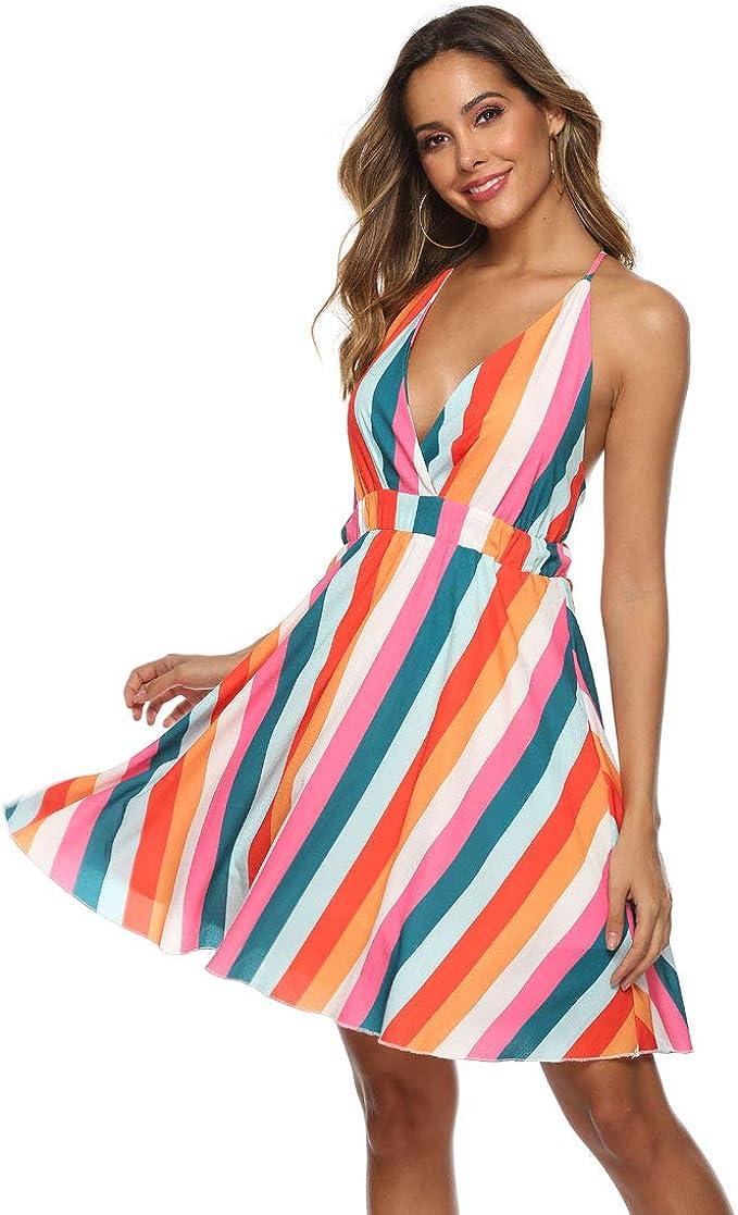Women summer Fashion Maxi Dresses Dress Casual sundress V Neck Cocktail Loose