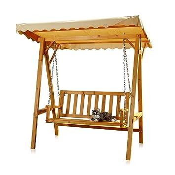 Melko Balancelle de jardin en bois, banc avec toit, beige: Amazon.fr ...