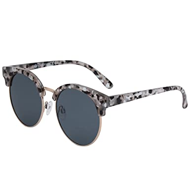 26c6eeb178 VIVIENFANG Moon Cut Women s Marble Half Frame Flat Lens Round Sunglasses  Polarized P2113B Black and White