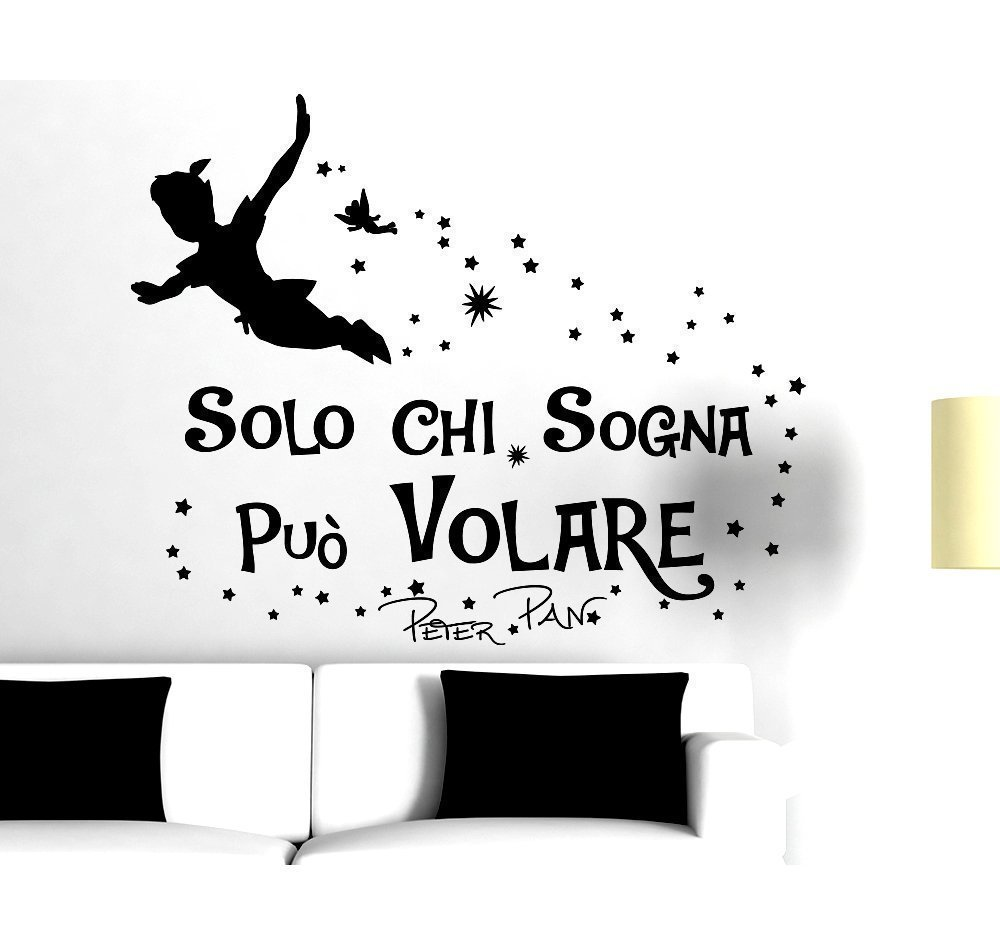 Adesivi Murali Frasi Peter Pan Solo chi sogna può Volare Citazione Wall Sticker Adesivo da Muro Adesivi Murali Frasi Amore Sognare Stickerdesign - Misura 80 x 64 CM