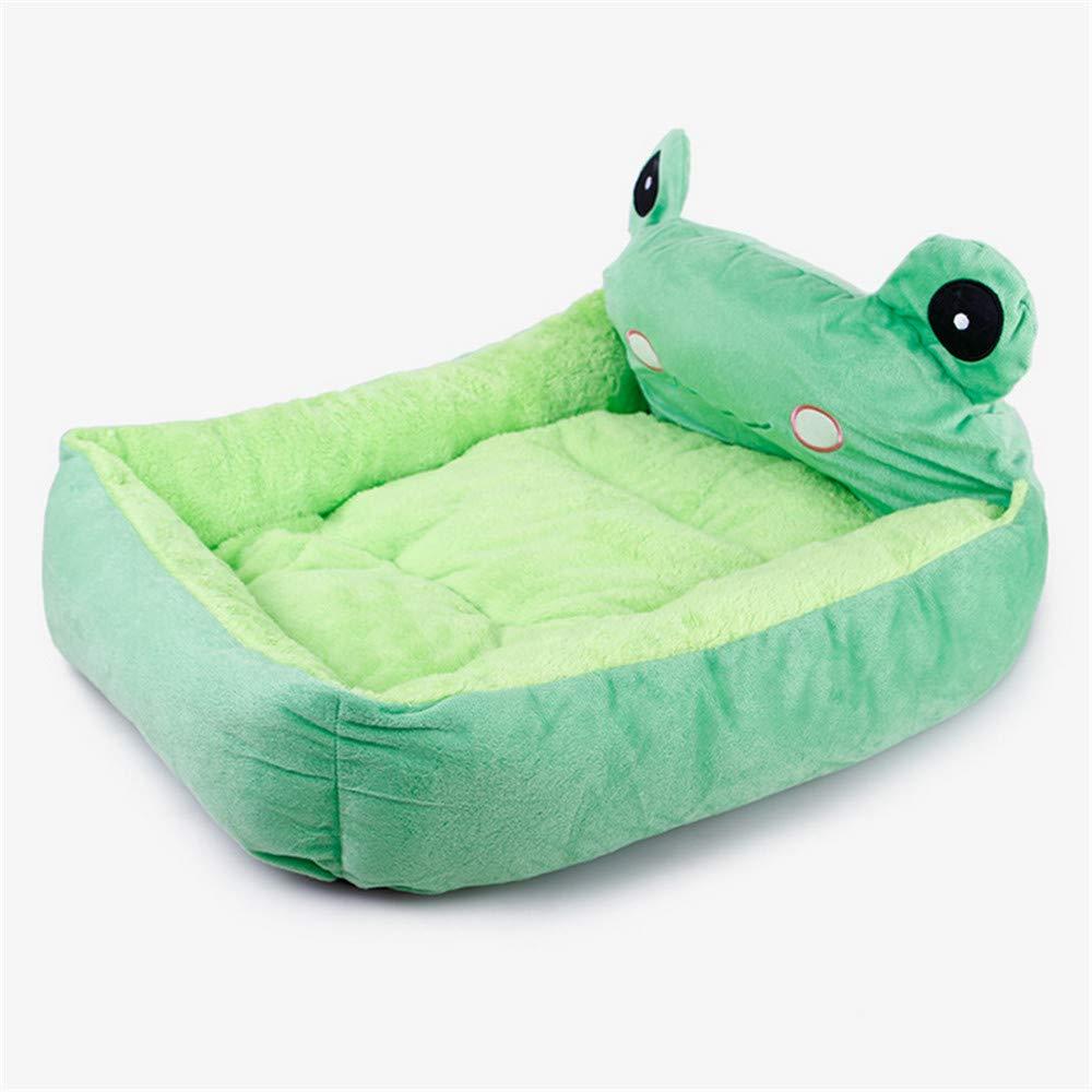 Mzdpp Cute verde Frog Quadrato Morbido Caldo Canile Lettiera Lettiera Lettiera Per Cani Letti Piccoli E Medi 50X40X10Cm 052343