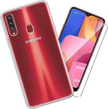 SCDMY Carcasa para Samsung Galaxy A20S Funda + Cristal Templado, Transparente Silicona Case, Fuerte protección de Suave TPU Funda Carcasa Cristal Templado para Samsung Galaxy A20S (6.5