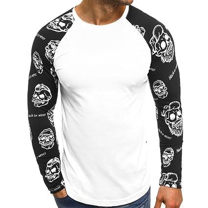 Diseño único para España Hombres Casuales Impreso Letras del cráneo Patchwork Blusas de Manga Larga Blusa