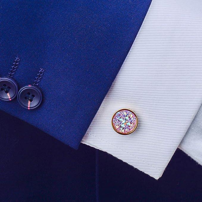 Wacelethh Gemelos para Hombre para La Camisa Personalizados Boda Regalo, Piedras Preciosas De Colores Brillantes con Incrustaciones Redondas: Amazon.es: Hogar