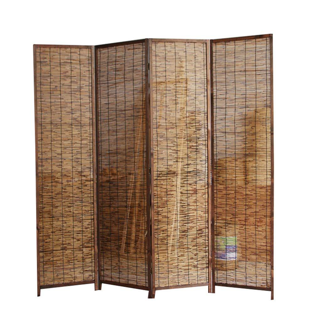 Even 4 Panel Raumteiler/Bildschirm, Reed Vorhang, Bambus dekorative freistehende gewebte Klapp Sichtschutz Raumteiler, Veranda chinesischen Stil Holz Bambus Bildschirm,Partition Screens