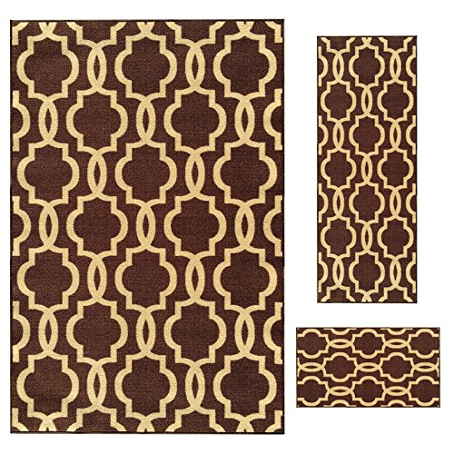 Backed Carpet Set (Rubber Backed 3-Piece Rug SET Fancy Moroccan Trellis Chocolate Brown & Beige Area Non-Slip Rug - Rana Collection Kitchen Dining Living Hallway Bathroom Pet Entry Rugs RAN204BRW-3PC)