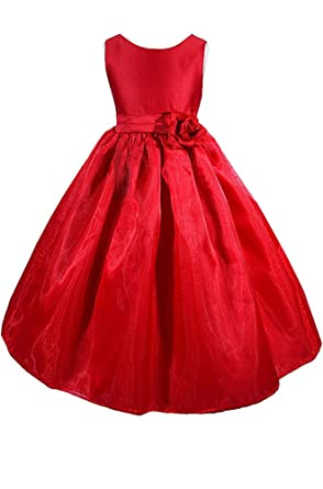 amj dresses inc big girls red flower christmas dress a8004 sz 8 - Girls Red Christmas Dress
