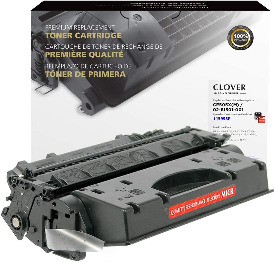 Clover Remanufactured MICR Toner Cartridge for HP 05X CE505X(M), 02-81501-001   Black