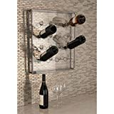 Wall Mounted Bottle Wine Holder holds up to 16 Bottle made of Iron and Acrylic in Metallic Gray 19 in. x 3 in. x 22 in.
