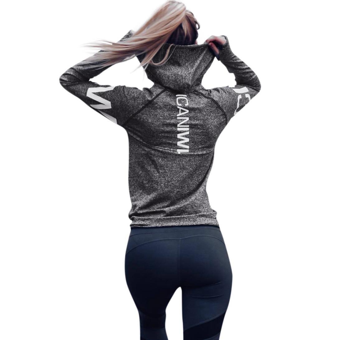 Sumen Women Girls ICANIWILL Letter Tracksuit Hooded Sweatshirt Sport Tops