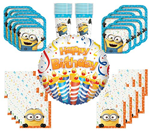 Despicable Me Party Supplies (16 Guest Despicable Me Value Pack Party Supplies Bundle: Dinner Plates, Cups & Napkins, and Happy Birthday Balloon)