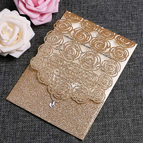 FEIYI 25PCS Laser Cut Invitations Cards Luxury Diamond Gloss Design with Pearl Paper Insert for Wedding, Bridal Shower, Engagement Birthday Graduation Invite (Gold Glitter)