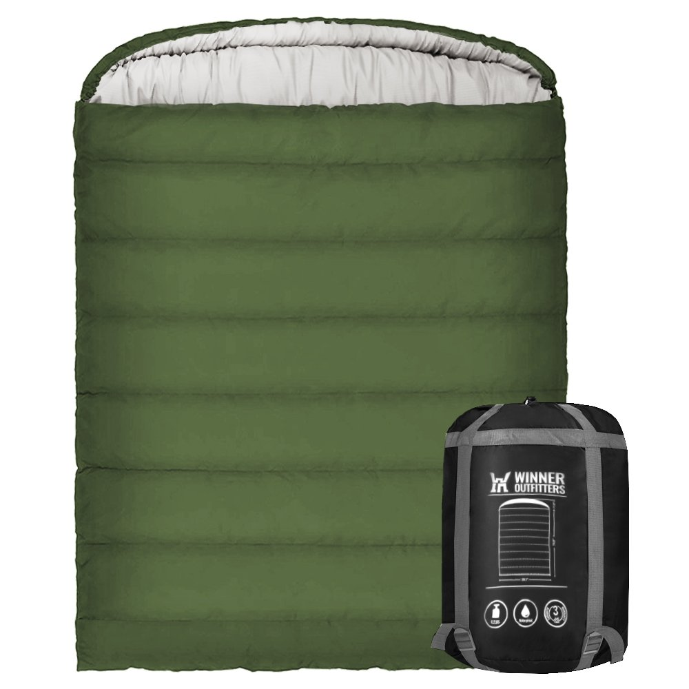 Winner Double Sleeping Bag with Compression Sack,Mummy Hood with Zipper It's Portable and Lightweight for 3-4 Season Camping, Hiking, Traveling, Backpacking and Outdoor Activities(Bottle Green) by WINNER OUTFITTERS