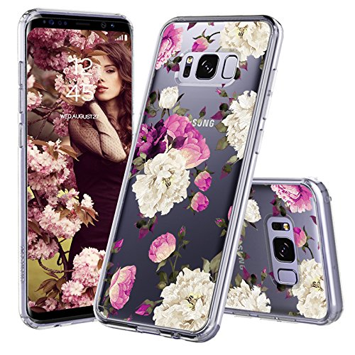 Galaxy S8 Plus Case, Galaxy S8 Plus Cover, MOSNOVO Peony Floral Flower Blossom Pattern Printed Clear Design Transparent Back Case with TPU Bumper Protective Case Cover for Samsung Galaxy S8 Plus