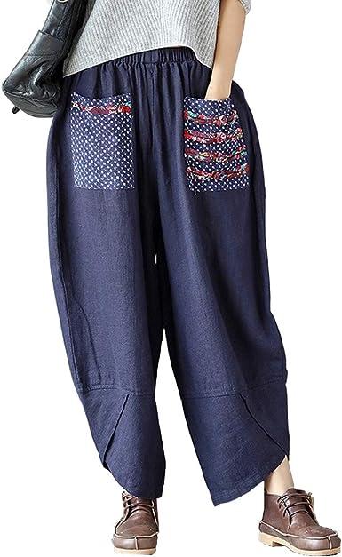 Helisopus - Pantalones holgados de algodón y lino para mujer, cintura elástica: Amazon.es: Ropa y accesorios