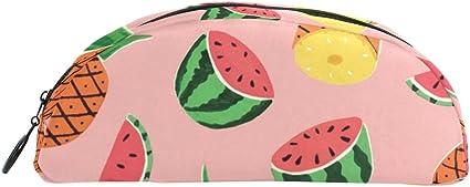 COOSUN Estuche con patrón de sandía de piña para lapiceros, semicircular, bolígrafo, bolso, estuche, bolsa de maquillaje, cosméticos para mujeres y niñas: Amazon.es: Oficina y papelería
