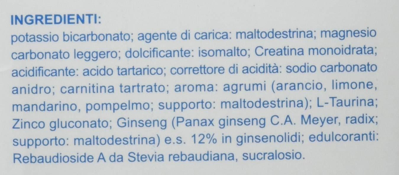 Energina Fast 16 bustine Potassio 700 mg Magnesio 375 mg Creatina 600 mg Carnitina 500 mg Taurina 250 mg Ginseng Zinco Stanchezza Stress Crampi Spossatezza ...