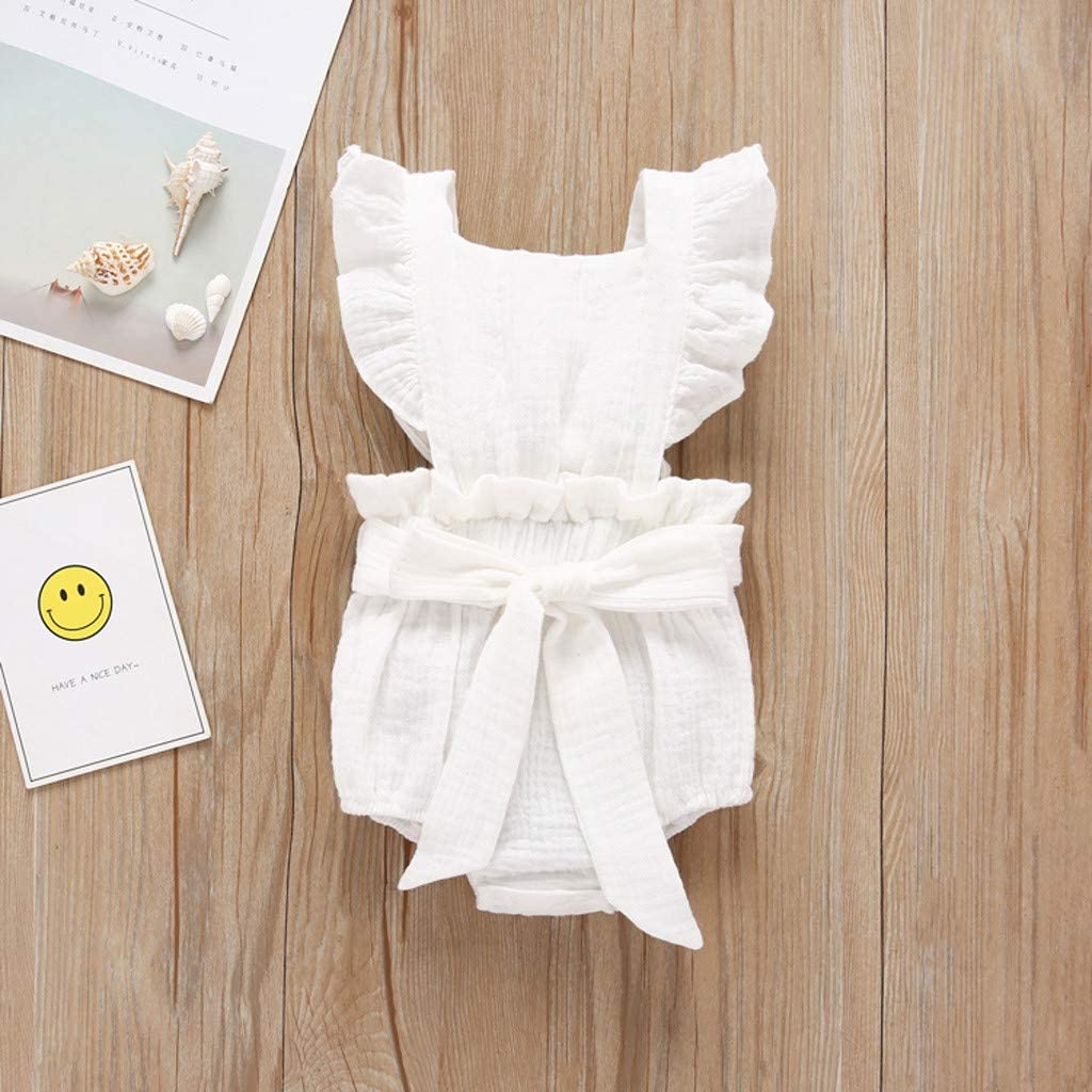 Toddler Baby Girl Cotton Linen Lattice Bowknot Bodysuit Romper Jumpsuit Outfit Set Lace Ruffle Onesies Strap Sleeveless Summer Bodysuits Childrens Day Gift MORETIME Newborn Girls Romper 2Pcs Sets