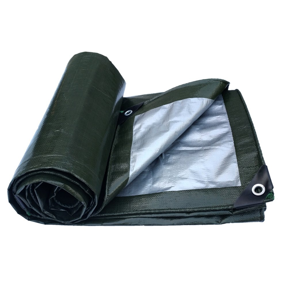 6X8M FEI Teng Tarpaulin, Thick Outdoor Waterproof Canopy Sunscreen AntiOxidation Truck Gardening Cover Cloth  Military Green Silver ++ (Size   6X8M)
