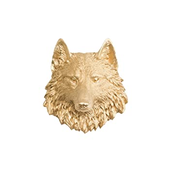 Amazon.com: Wall Charmers Wolf Mini in Gold - Faux Taxidermy Mounted ...