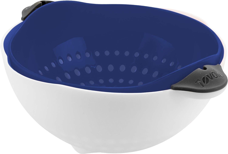 Tovolo Soak N' Strain Colander, Easy-Pour Spout 1.5 Quart Food Strainer, 2-in-1 Strainer & Soaking Bowl, Fruit Bowl & Vegetable Wash, BPA-Free & Dishwasher-Safe, Deep Indigo