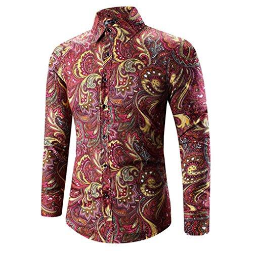 Camisa Manga Hombre Slim Fit Hawaiana Fashion Larga Moda Rojo Culater Shirts xPxBrpwO