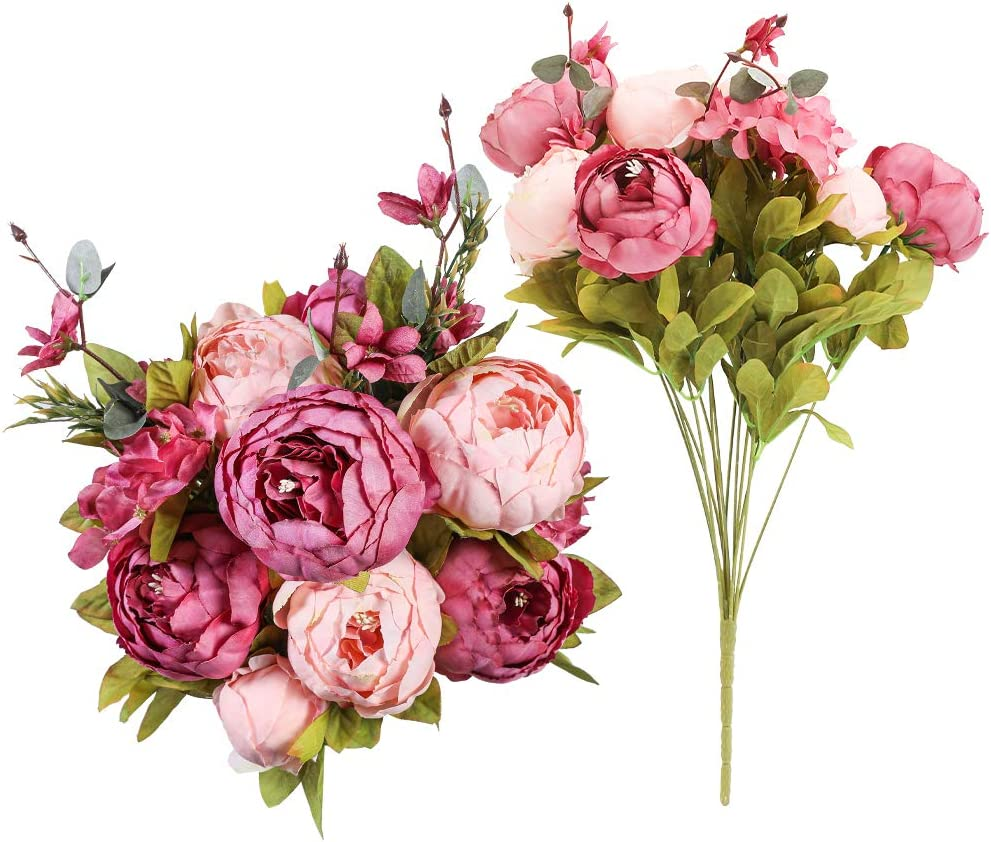Floweroyal 2pcs Artificial Peony Vintage Silk Flowers Bridal Bouquets Home Wedding Party Office Garden Decoration (New Purple&Pink)
