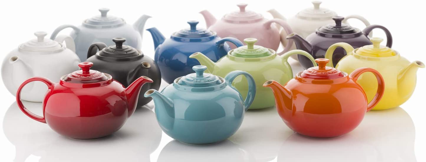 Le Creuset Klassische Teekanne Steinzeug 1,3 Liter Rund Creme