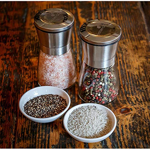 (BOOBOOAS 1PC Pepper Grinder Salt Shaker for Professional Chef Stainless Steel Best Spice Mill Adjustable Coarseness Kitchen Tool)