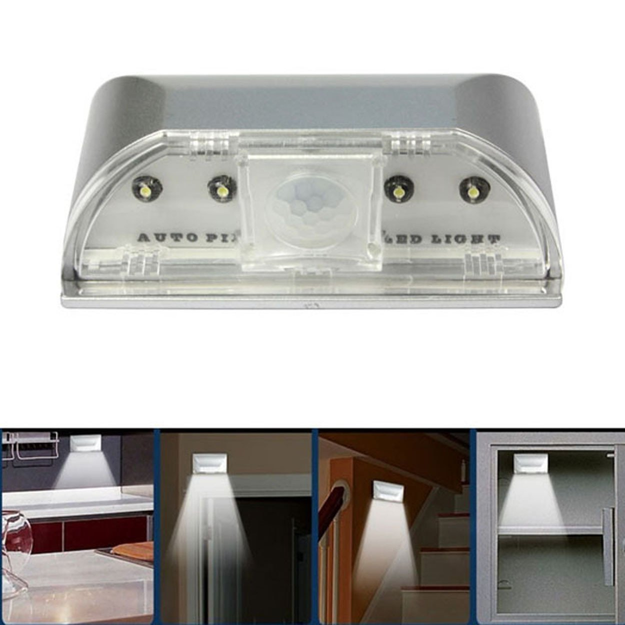 4 LED Light Lamp PIR Auto Keyhole Led Sensor Motion Detector Wireless by Buyincoins
