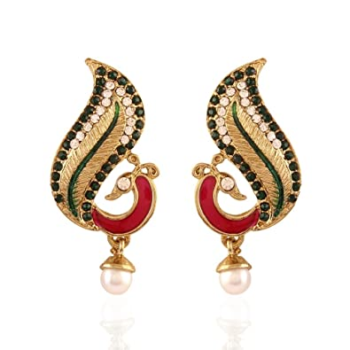 68dce346e Buy I Jewels Traditional Gold Plated Peacock Shaped Stone & Meenakari  Earrings for Women E2258QG (Rani/Green) Online at Low Prices in India |  Amazon ...