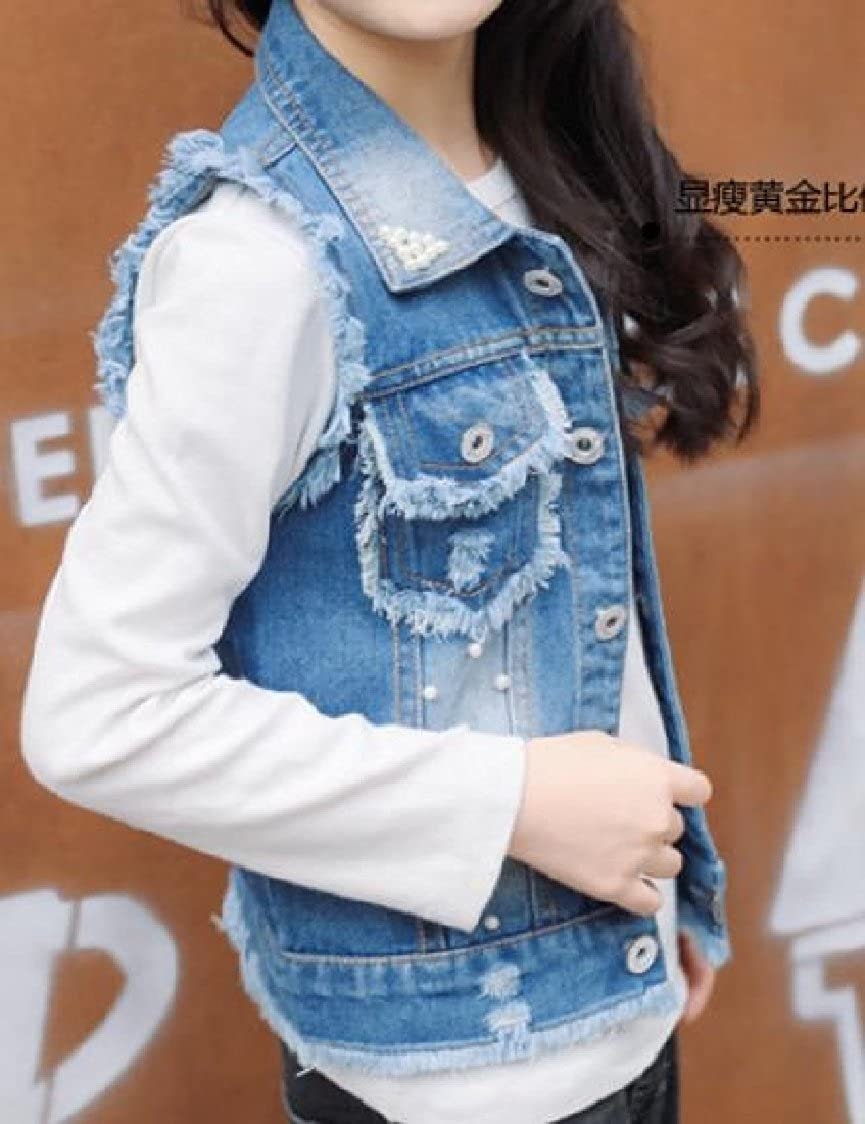GodeyesWomen Godeyes Big Girl Pearl Button Down Cardigan Frayed Raw Hem Cowboy Childs Denim Jacket Vest