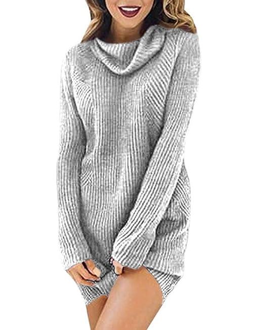 Mujer Suéter de Cuello Alto Mujer de Punto Invierno Otoño Moda Largo ...