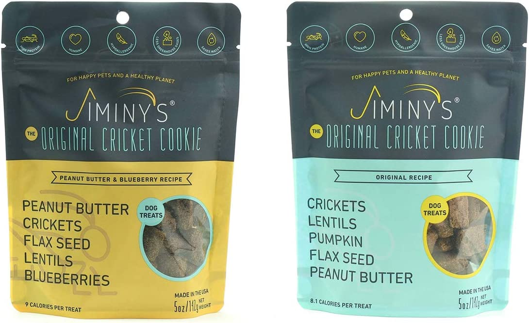 Jiminy's Cricket Cookie Treats 2 Pack Bundle   100% Made in The USA   Gluten-Free   Limited Ingredients   Sustainable   Cricket Protein   Hypoallergenic   High Protein