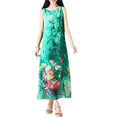 Vintage Print Women Casual Long Loose Summer Dress Vestidos