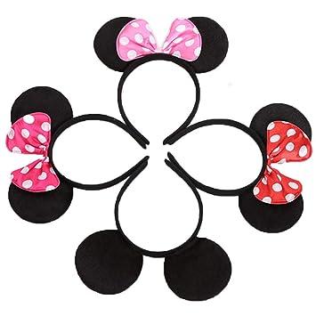 Conjunto de 12 Mickey Minnie Diademas para cumpleaños Fiestas de Halloween Niños Niñas Accesorios para el cabello Sombrero de orejas de ratón ...